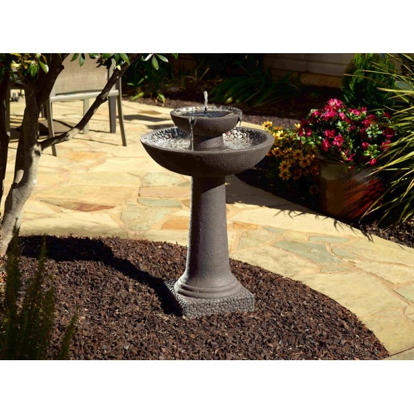 Riverstone Solar On Demand 2 Tier Fountain - Brown