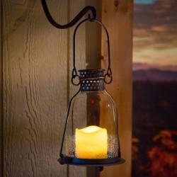 "Monaco 9"" Glass LED Candle Lantern- Clear"