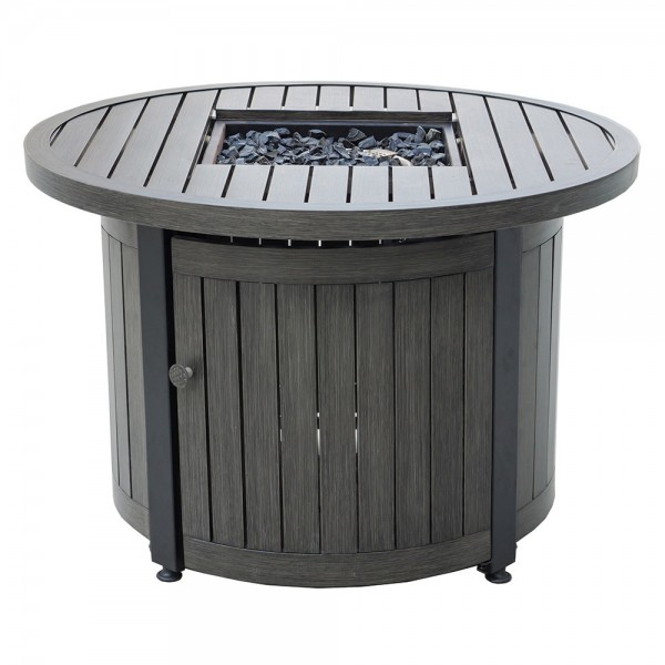 """36"""" Round LP Gas Fire Table With Aluminum Mantel"""