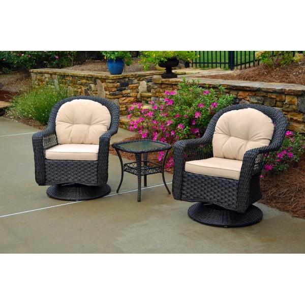 Biloxi 3 Pc Bistro Set 2 Swivel Chairs, Bistro Table