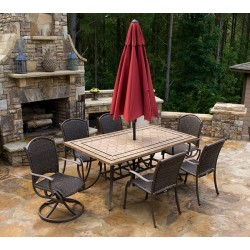 "Marquesas 7Pc Dining Set w/ 2 Swivel Rockers, 4 Chairs, 70"" Stone Table"
