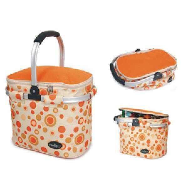 Aluminum framed picnic cooler basket