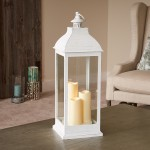 "Avalon 28"" Triple LED Lantern - Antique White"