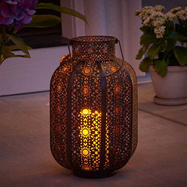 "Cadiz 14"" LED Candle Lantern -Weathered Brown"