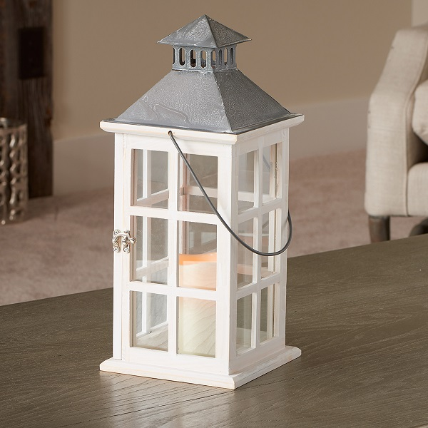 "Camden 16"" LED Candle Lantern Antique White"