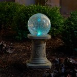 Chameleon Solar Gazing Ball on Pedestal