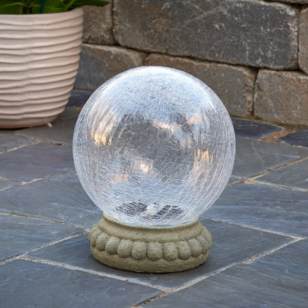 Chameleon Solar Gazing Ball on Table Top Pedestal
