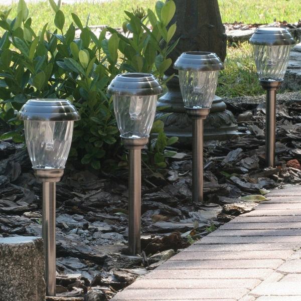 Charleston Solar Pathway Lights-Pewter 6 Pack