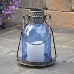 Monaco Glass LED Candle Lantern- Blue