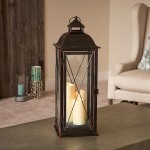 "Salerno 27"" Triple LED Candle Lantern  Antique Bronze"