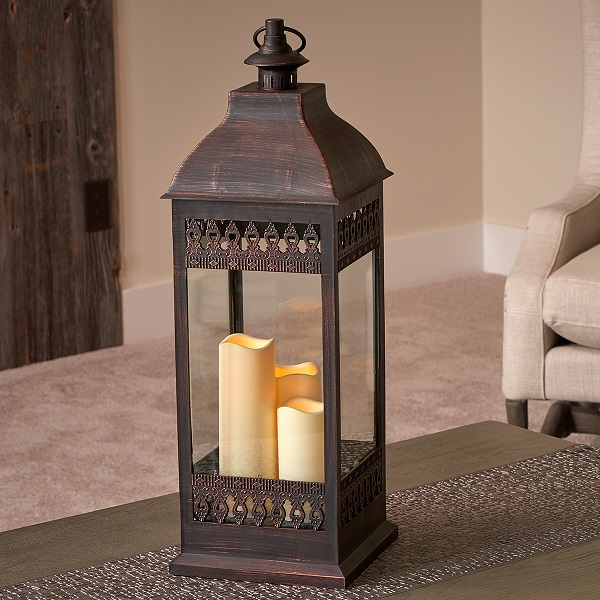 "San Nicola 28"" Triple LED Candle Antique Bronze"