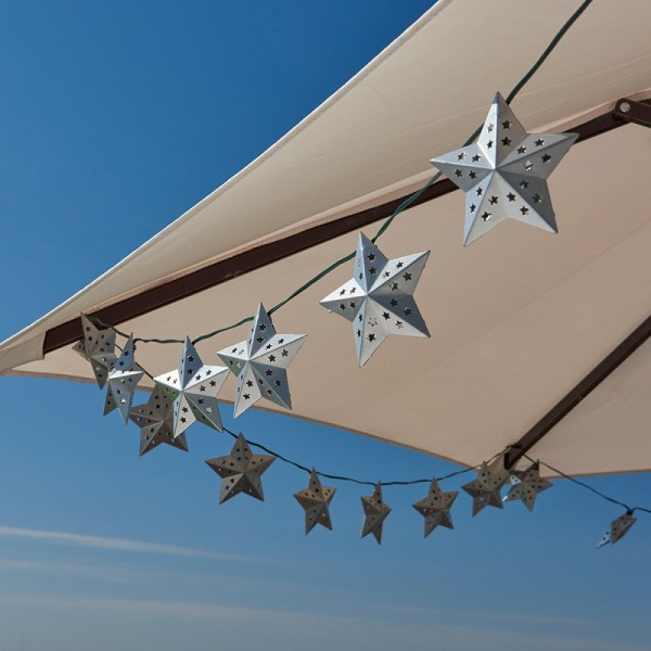Solar Light String Metal Star Silver 20 ct