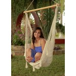 Sunnydaze Large Mayan Chair Hammock With Wood Bar - Natural