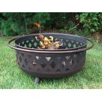 "Sunnydaze Bronze 36"" Crossweave Firebowl Fire Pit"