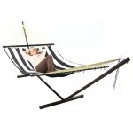 Sunnydaze Black and White Stripe Fabric Hammock with Spreader Bar