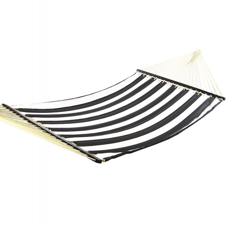 sunnydaze black and white stripe fabric hammock with