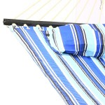 Sunnydaze Catalina Beach Quilted Fabric Hammock with Pillow,  Spreader Bar and Stand