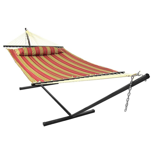 Sunnydaze Red Quilted Fabric Hammock withPillow,  Spreader Bar and Stand