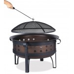 "34""Steel/Brushed Copper Wood Burning Outdoor Firebowl"
