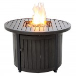 "36"" Round LP Gas Fire Table With Aluminum Mantel"