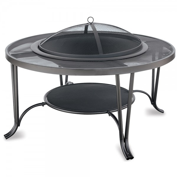 Black Wood Outdoor Firebowl with Mesh Hearth