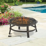 Brushed Copper Wood Burning Outdoor Firebowl-Round