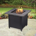 LP GAS Outdoor Fire Table With Faux Stone Mantel