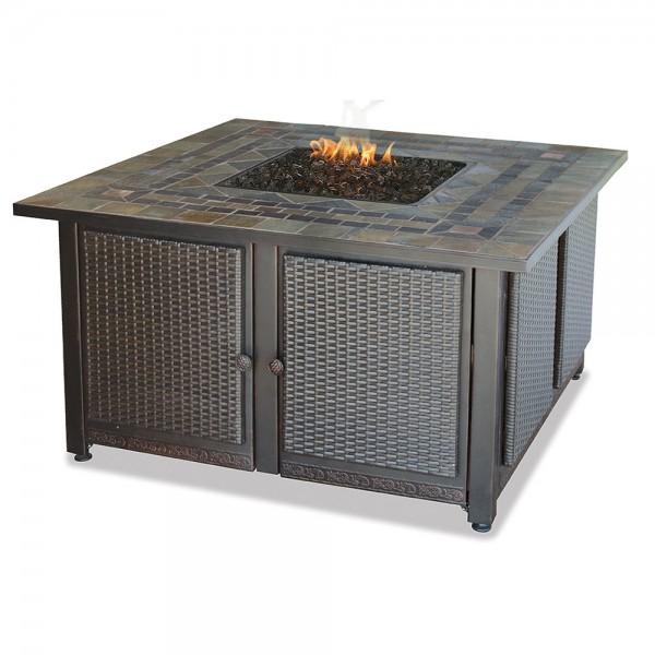 LP GAS Outdoor Fire Table With Slate Tile Mantel with Copper Accents