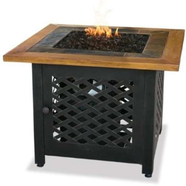 - LP GAS Outdoor Firebowl With Slate and Faux Wood Mantel