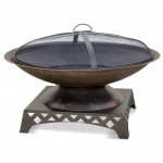 Oil Rubbed Bronze Wood Outdoor Firebowl