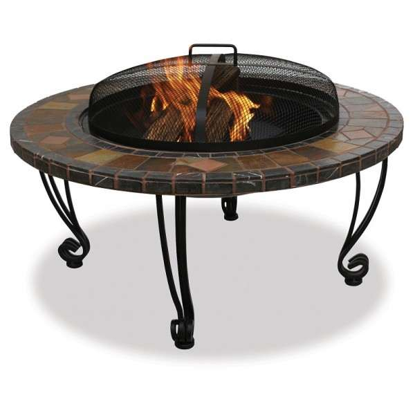 Slate And Marble Wood Burning Outdoor Firebowl With Copper Accents