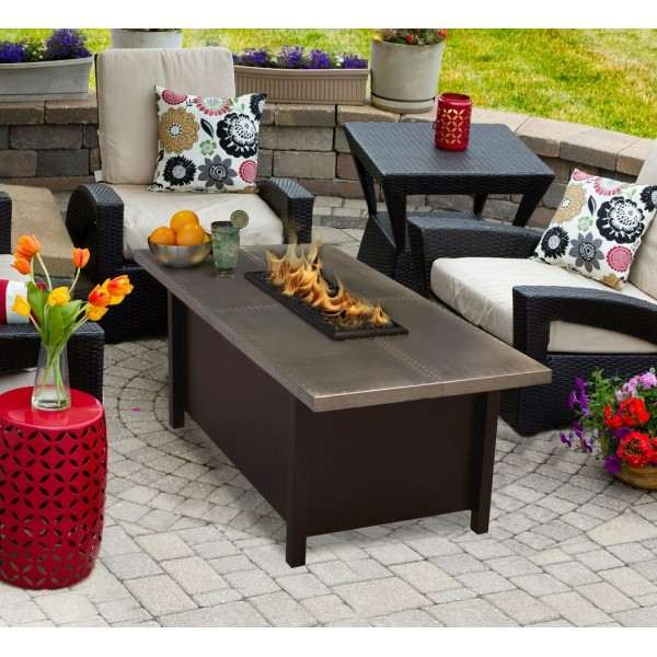 Carmel Chat Height Firepit Coffee Table in Aluminum