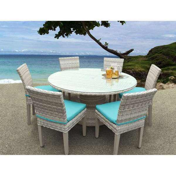 "Fairmont 60"" Outdoor Patio Dining Table and 6 Armless Chairs"