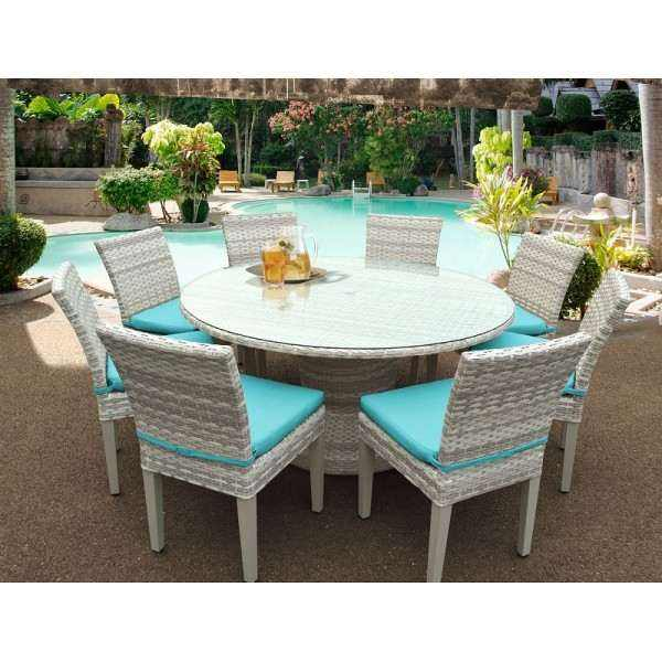 "Fairmont 60"" Outdoor Patio Dining Table and 8 Armless Chairs"