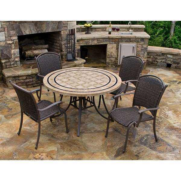 "Marquesas 5Pc Dining Set 4 Arm Chairs, 48""Stone Table"