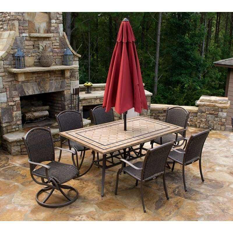 Marquesas 7pc Dining Set W 2 Swivel Rockers 4 Chairs 70 Stone